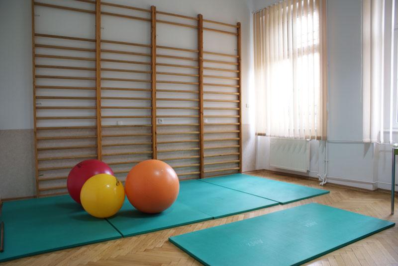 zdjęcie sali do zajęć ruchowych, widoczne piłki, maty i drabinki naścienne
